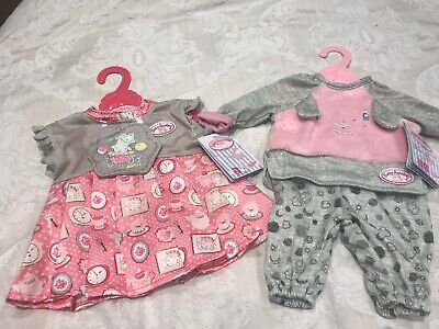 2 X Baby Annabell Day Dress &   Sweet Dreams Pyjamas - New With Tags