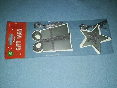 Bnwt Christms Jumbo Gift Tags 20psc silver present and star