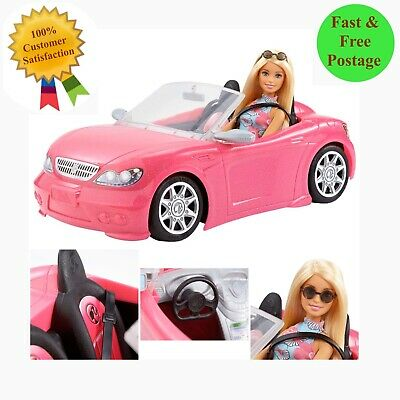 Barbie Convertible Pink Car and Doll Glam Doll Christmas Gift Barbie Car Mattel
