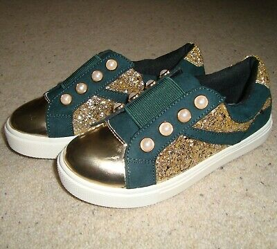 Girl's RIVER ISLAND Sneakers Size 10 UK Kids NWOB Green Gold Trainers Slip On