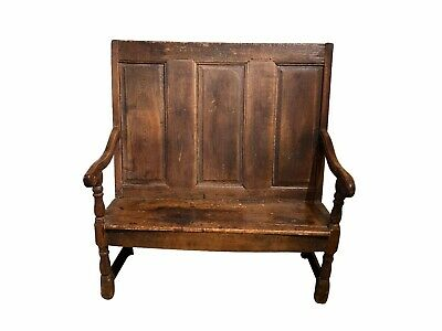 17th Century English Carved Elm Wood Narrow Bench