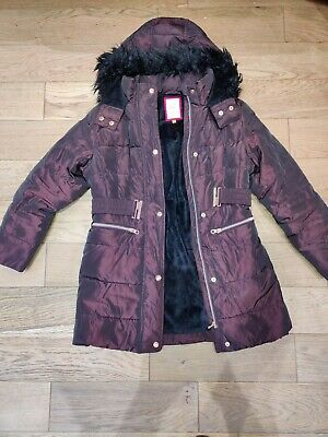 Girls TED BAKER Padded Quilted Coat With Zip/Poppers/Pockets Age 12 Yrs Brown