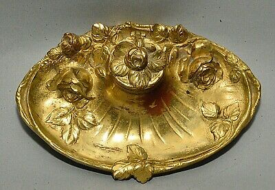 Antique French Dore Bronze Inkwell w/ Sculptural Roses signed H. Bernard