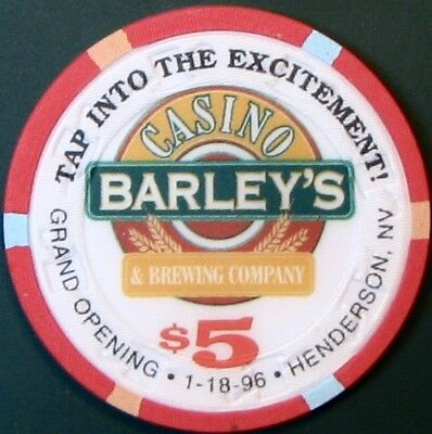 $5 Casino Chip. Barley's, Henderson, NV. Grand Opening 1996. M72.