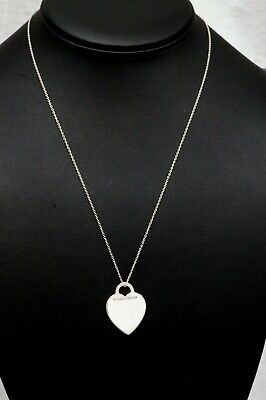 Tiffany & Co Blank Engrave-able Heart Charm 925 Sterling Silver Necklace (B1457)
