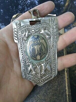 Antique Russian Persian Silver Caucasus Niello filigree Birds Belt Buckle