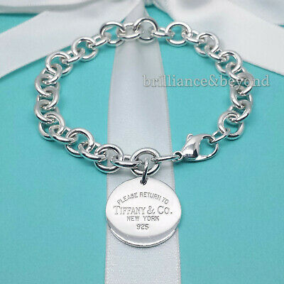 """Return to Tiffany & Co. Round Tag Bracelet Charm 925 Sterling Silver 8.75"""" LARGE"""