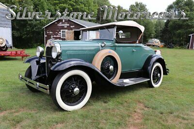 1930 Ford Model A Roadster Deluxe 1930 Green 3 Speed Manual Roadster Rumble Seat Convertible Restored