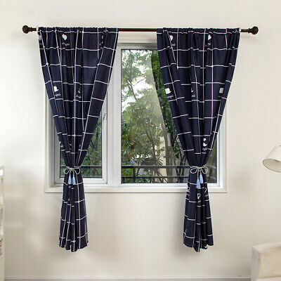 Modern Plaid Curtain Thermal Blackout Tape Top Curtains Living Room Ready Made