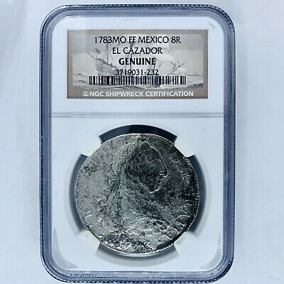 El Cazador 1783 Shipwreck Spanish Colonial 8 Reales Silver Coin. NGC Certified.