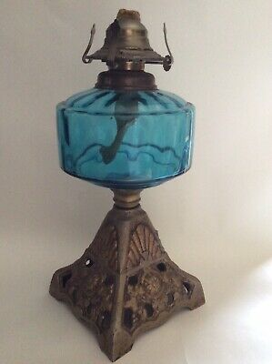Vintage Kerosene/ Oil Lamp With Cast Iron Stand