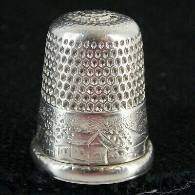 """Antique Simons Bros. PA. Sterling Silver 9 Thimble  """"Country Farm Design"""""""