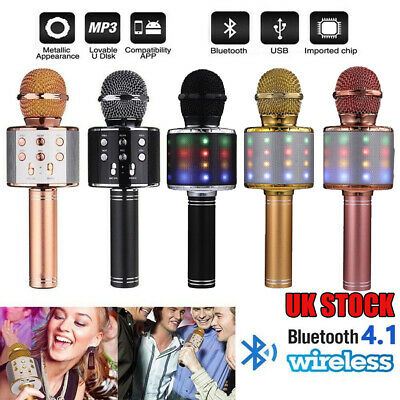 NEW Wireless Bluetooth Karaoke Microphone Speaker Handheld Mic USB Player KTV
