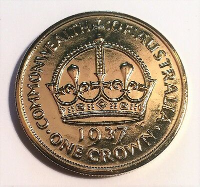 1937 Crown Fantasy/Token Coin 999 24k Gold Plated in Acrylic Capsule.
