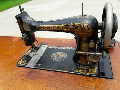Vintage Antique Singer Treadle Sewing Machine with Cabinet, Circa 1899