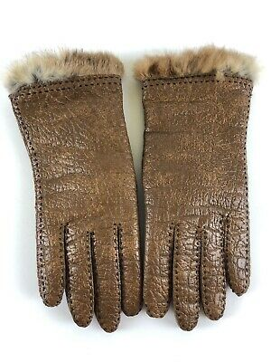 Fownes Vintage Brown Textured Leather Gloves Rabbit Trim Womens Size 7 1/2