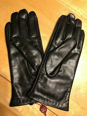 GSG Ladies Simple and Elegant Leather Gloves - BLACK - Size 7.5/M