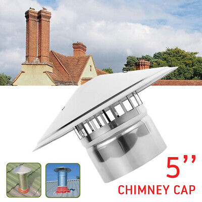 Chimney Cowl With Bird Guard Rain And Snow Cap Cover - Stainless Steel