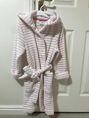 Little Joules Girl's White And Pink Stripe Dressing Gown Age 9-10 Years