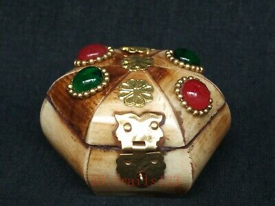 Collection Old China Tibet Handwork Carving Inlay Jewelry Box Decoration Gift
