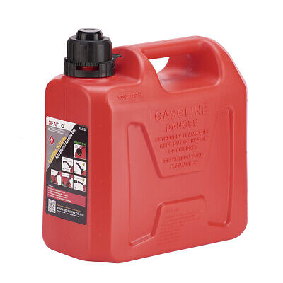 5L Litre Red Fuel Oil Canister Tough Plastic Lawn Mower Jerry Can Spill Spout