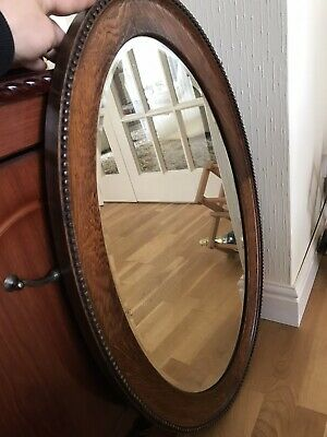 Antique Vintage Victorian Large Oval Wall Mirror Bevelled Edge  Shabby Chic