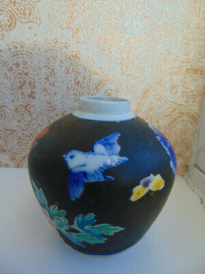 Antique Chinese Pottery Vase Blue White Famille Noir 18Th 19Th Century
