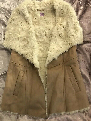 Girls Suede Beige Fur Lined Gillet Age 9-10 Years