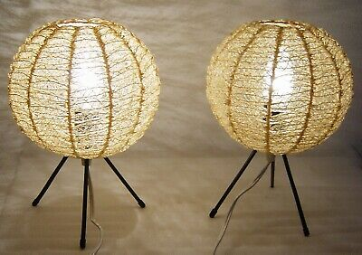 2 mid century tripod metal wire bedside table lamps with ballshaped shades