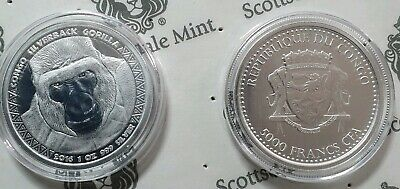 2016 1 oz Congo Silverback Gorilla .999 Silver Coin In OMP by Scottsdale Mint