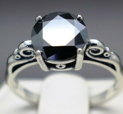 2.13cts 8.42mm Real Natural Black Diamond Size 7 Scroll Ring & $1265 Value.