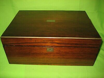 ANTIQUE 19th CENTURY WOOD  BRASS INLAID BOX