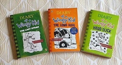 New Diary of a Wimpy Kid  3 Books - The Last Straw, The Long Haul, Hard Luck