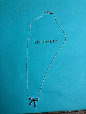"""CHRISTMAS Gift Tiffany & Co. Necklace Mini Bow 16"""" Sterling Silver NEW"""