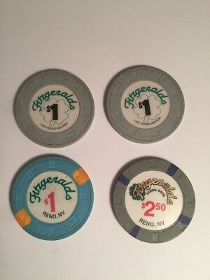 Lot Of Four Casino Chips~Fitzgeralds Reno Nevada