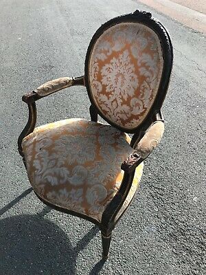 French Part Gilded walnut Carved Open Armchair Louis XV Style