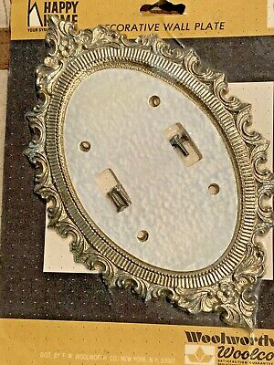 Vintage Decorative Two Light Switch Wall Plate with Gold Tone Trim