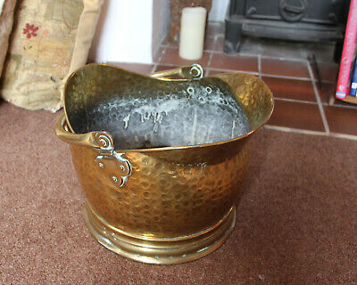 Coal Scuttle Brass Vintage Antique HEAVY AND SOLID