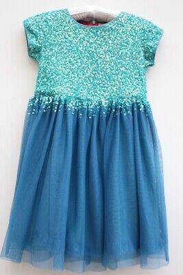 Girls Mini Boden party teal sequin party dress age 9-10