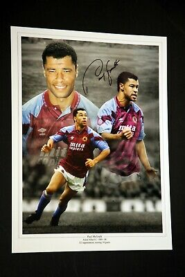 Paul McGrath Hand Signed Aston Villa FC Football 12x16 Photograph
