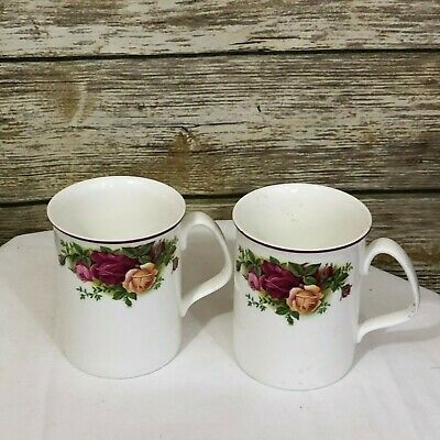 Set of Two Royal Albert Old Country Roses  Coffee Mugs Pink Trim