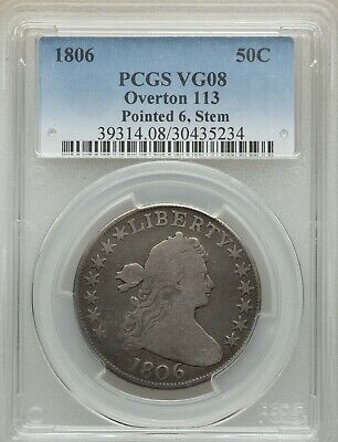 1806 Draped Bust Half Dollar, O-113, R.5+, VG 8, PCGS, VERY RARE, FREE SHIPPING
