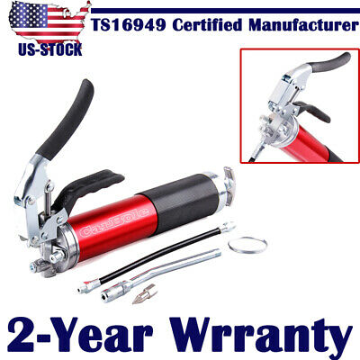 "4500 - 6000 PSI Grease Gun Anodized Aluminum Pistol Grip with 12"" Flex Hose US"