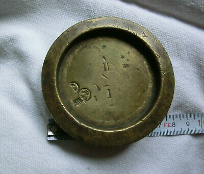 Antique Imperial 1 Lb Brass Trade Weight Unusual Marks 'Horse Forcene'