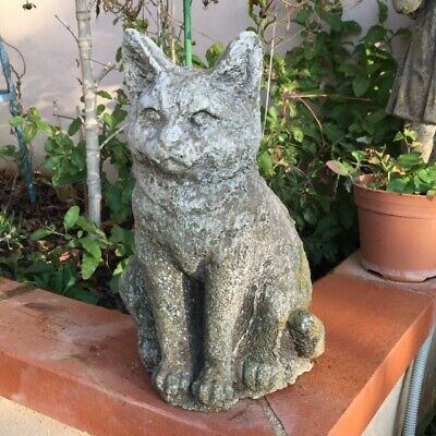 CUTIE !!! Vtg French Darling Pet CAT KITTEN Stone STATUE Home/Garden Door Stop