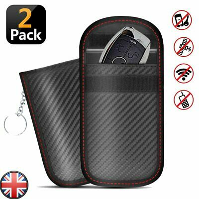 2x Black Car Key Signal Blocker Case Faraday Cage Fob Pouch Keyless Blocking Bag