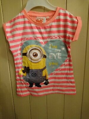 Girls Age 3-4 Pink Minions Despicable Me T Shirt