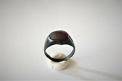 Ancient Roman Bronze Ring With Red Stone 1-3 Ad