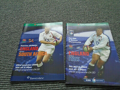 2 England Rugby Union Homes South Africa 2002+Italy 2003