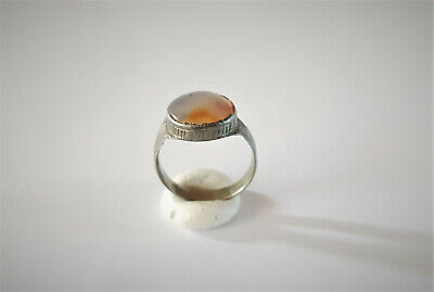 Medieval Byzantine Silver Ring With Gemstone 5-7 Ad